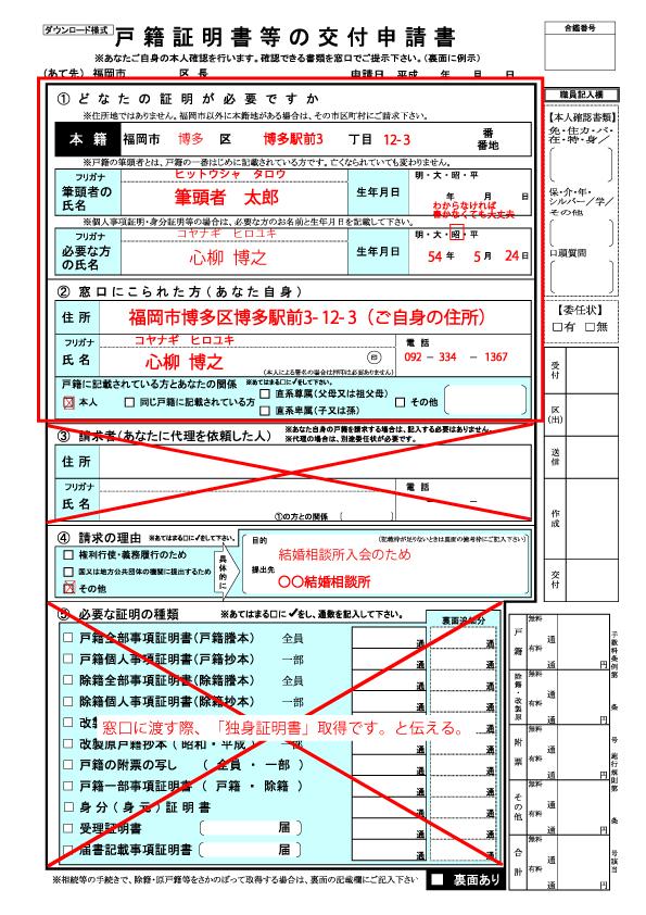 戸籍証明書等の交付申請書書き方